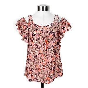 Anthropologie maeve floral print cold shoulder top